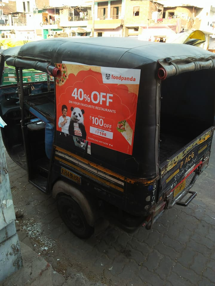 shared auto side vinyle stiker branding-food panda food portal apps-Rajasthan